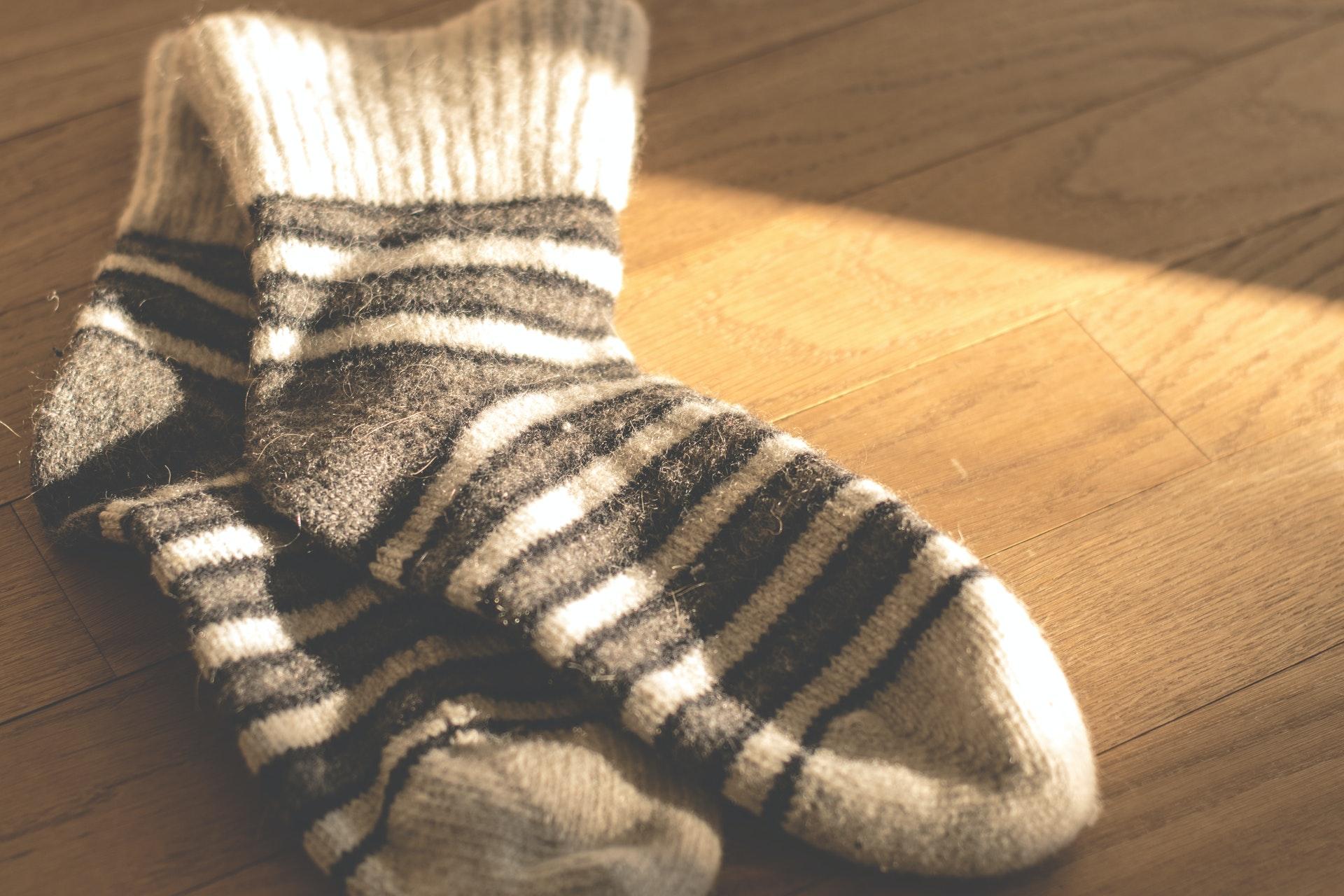 ボーダー柄のオーガニックの靴下