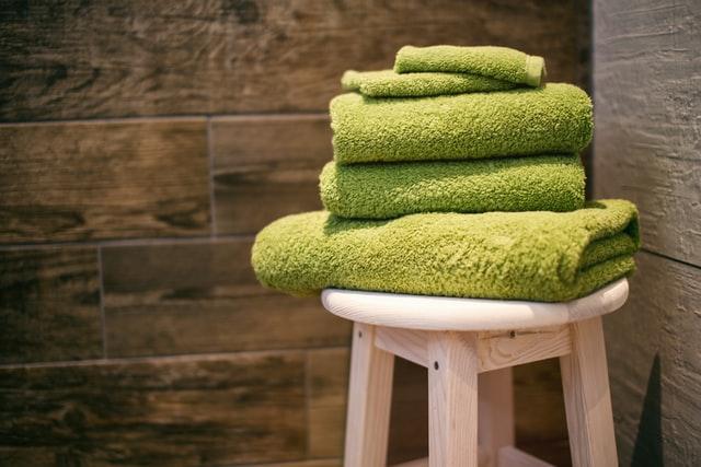 緑色のオーガニックタオル